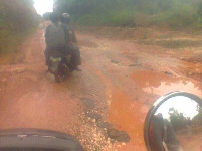 Jalan Negara Jambi-Sungai Gelam Rusak Berat