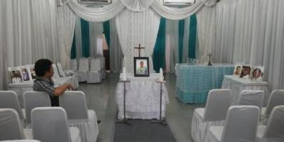 Rumah Duka St Carolus yang dihiasi foto-foto para terpidana mati, meski hanya Rodrigo Gularte yang disemayamkan di situ pada, Rabu (29/04/2015).RESKRIM.Doc