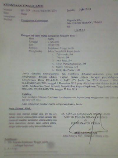 Surat Dari pihak Kejati Jambi Kepada Rektor IAIN STS Jambi dan hingga hari ini, Rektor masih tetap bebas berlenggang kangkung.RESKRIM.Doc