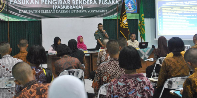 Dandim 0732/Sleman Berikan Wasbang Kepada Paskibraka Kabupaten Sleman