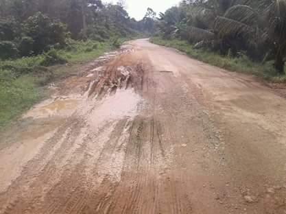 Jalan Desa Bakung yang mengalami rusak parah akibat melintasnya mobil logging.RESKRIM.Doc